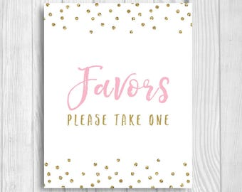 Favors Please Take One 5x7, 8x10 Bridal Shower, Baby Shower, Birthday Favor Sign - Light Pink and Gold Glitter Confetti Instant Download