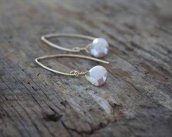 Champagne Moonstone Teardrop Gold Filled Marquise Earrings