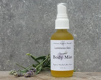 Organic Lavender Body Mist, Natural Moisturizing Spray, Lavender Spray Moisturizer Vegan Body Mist, Spray Moisturizer, Scented Body Mist