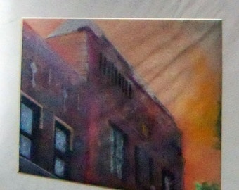 original art  drawing 11x14 old building ion red/orange