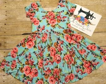 Spring Floral Skater Dress, Girls Knit Dress, Toddler Twirl Dress, Baby Soft Dress, Aqua Floral Dress