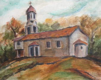 Impressionist monastery tree oil painting