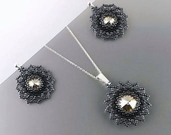 Swarovski Crystal jewelry set, Beadwoven Seed bead Beadwork Sterling Silver earrings and pendant, Golden Shadow Swarovski, MADE TO ORDER