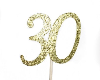 30th Birthday Cupcake Toppers, Thirty Cupcake Topper, Gold 30th Birthday Decorations, 30th Party Decorations for Birthday