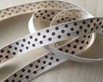 "decorative Ribbon: ""Brown dots"" on an ecru mottled background"