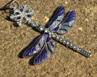 REGAL DRAGONFLY Purple Sparkling Tree Jewelry Christmas Ornament