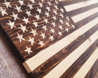 Rustic Natural Wood Stain Wooden American Flag Indoor Outdoor Home Decor