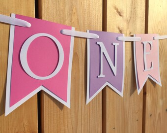 custom pink purple ONE high chair banner, first birthday, birthday banner, one banner, 1st birthday, 1st birthday banner, highchair banner