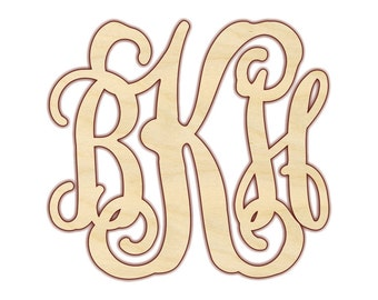 """3 Letter Monogram - 3 Letter Wooden Monogram - Three Letter Monogram - Wood Monogram Letters - Wooden Monogram for Wall - 12-16"""" - 150107"""