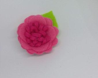 Bright Pink Felt Flower Hair Clip