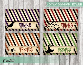 Halloween Treat Bag Toppers, Treat Bags, Halloween Party Favors, Printable, Halloween Decorations