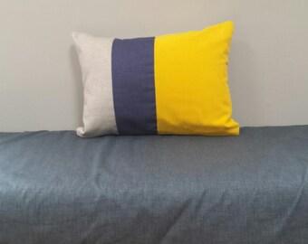 """Color Block Pillow Cover Linen/Indigo Navy/Bright Yellow/Sofa Cushion Throw Pillows Couch Pillow 14"""" X 18"""" /Ready to Ship/Simple Home Decor"""