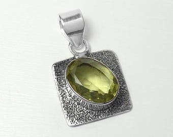 925 Sterling Silver Lemon Quartz Gemstone Pendant