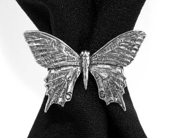 Swallowtail Butterfly Scarf Ring in Fine English Pewter, Handmade in Great Britain (ab)