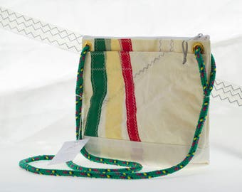 Corsica Crossbody, Recycled Sail Bag, Red Yellow & Green, African tricolor, upcycled purse