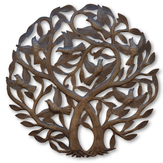 Haitian Intertwined Tree of Life, Quality Sculptures Made From Recycled Oil Drums, One-of-a-Kind 23x23