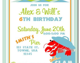 Clam Bake/Crab Boil Party Invites