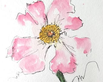 Rose Flower Original Watercolor Art Painting Pen and Ink Watercolor Art