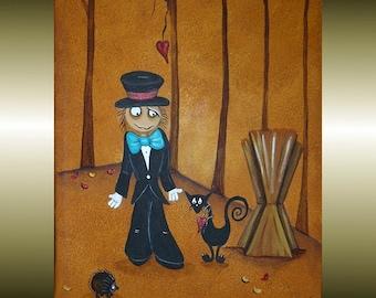 Whimsical Folk Art Painting - 9 x 12 -- Creeper Scarecrow -- Black Cat - Hedgehog - Fall