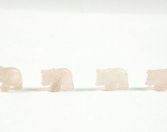 Rose Quartz Elephant Beads Pink Stone Beads Set of 4 with 1.3mm Hole