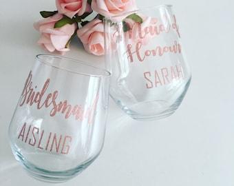 Personalised wine glass, stemless wine glass, bride gift, bridesmaid gift, bride glass, bridesmaid glass