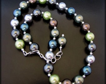 SILK ROAD~  Big Shell Pearls, Sterling Silver Necklace Set
