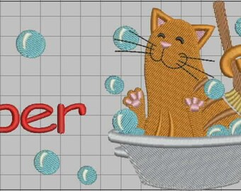 """Custom order. Embroidered bath and face terry towel with a name. Towel with embroidered cat. Gift for cat lovers. 27""""/51"""" and 20''/35''"""
