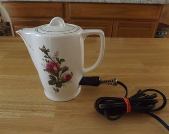 Vintage Electric Ceramic Teapot with Moss Rose/Floral Design/Pink Roses / Electric Cord Included / Japan