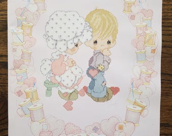 Precious Moments Cross Stitch Chart Design Book Five designs shown on the Front and Back of the Booklet