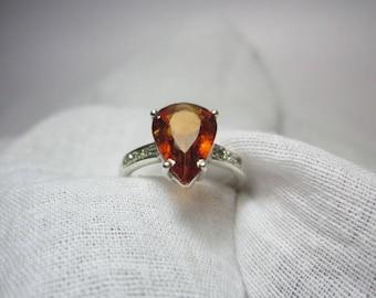 Natural Hessonite Garnet and Natural Diamond Ring, Hassonite Garnet Ring, Diamond Ring, woow