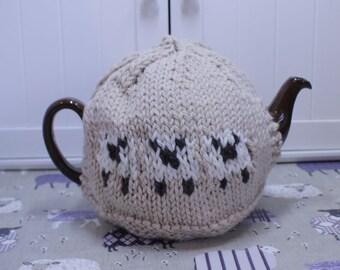 Beige Sheep Tea Cosy, Cozy - handmade LARGE size 100% natural fibres