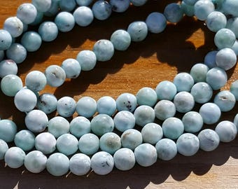 """1 16"""" Beautiful Genuine Natural Larimar 5-5.5mm Smooth Rounds Beads (67 beads)"""
