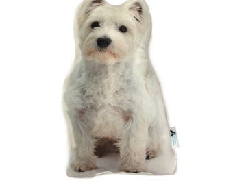 White Wesite Shaped Dog Cushion, Add Custom Lettering, Handmade By Creature Comforts Direct, Personalised Dog Gift, Dog Pillow