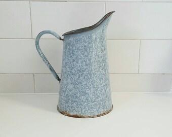 Vintage Pitcher - Vintage Coffee Pot - Vintage Enamelware - Enamel Pitcher - Gray Pitcher - Gray Coffee Pot - Vintage French Enamelware