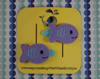 Felt Fish Hair Clips, Snap Clips, Set Of Two, Right and Left