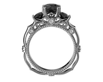 Italian Renaissance Black Diamond Engagement Ring in 14K Solid Gold G1203-14KWGDNBD
