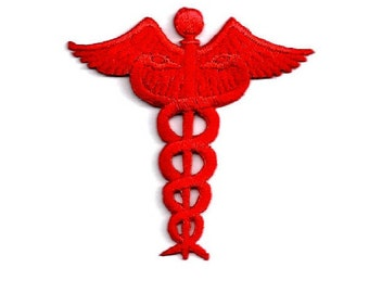 Caduceus - Medical - Nurse - Doctor - Scrubs - Iron On Applique Patch - CRAFT PROJECTS - Red