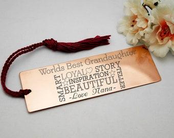 Custom engraved copper bookmark granddaughter personalised gift customised present gift for her gift for granddaughter birthday present
