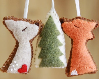 Felt Fox Deer Woodland Trio, Felt Ornaments, Home Decor, Holiday