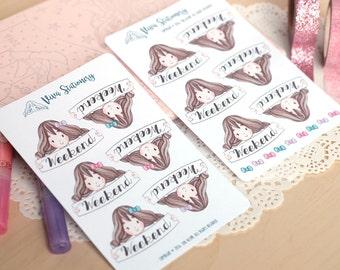 Weekend Banner Kawaii Girl Stickers ~Violet~ For Erin Condren Life Planner, Filofax, Happy Planner, Kikki K, personal diary or journal