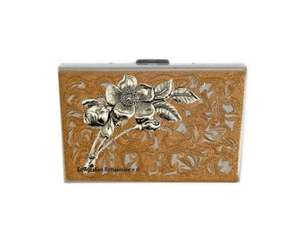 Art Nouveau RFID Metal Accordion Wallet  Roses Inlaid in Hand Painted Enamel  Gold Swirl Design Custom Colors and Personalized Options