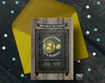 Escape Room Birthday Invitation - escape room invitation - escape room party - 5x7 - printable digital file