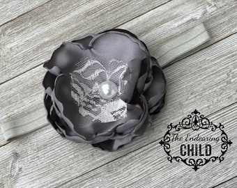 Gray Baby Headband - Baby Headband-Flower Headband - Toddler Headband - Infant Headband - Girl's Headband- Satin Lace Headband
