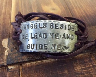 Angel Affirmation ID wrap Bracelet, silver, leather, Hand Stamped Pewter, Inspirational jewelry, bracelet with words,