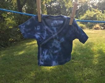 blue/grey tie dye baby side snap tee
