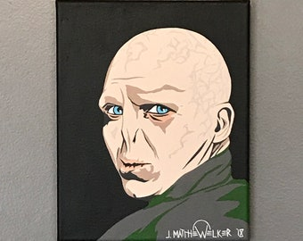 "8""x10"" ORIGINAL ""The Wizarding World of Lord Voldemort"" acrylic Harry Potter pop art painting - Ralph Fiennes JK Rowling wizard villain"
