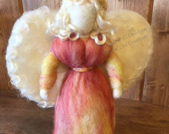 Waldorf-inspired Roving Fairy, Sweet Angel - White Curly Locks Hair, White Wings, Peach Coral Yellow Gown - Standing Needle Felted Wool Doll
