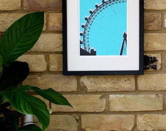 London print, Handmade art, Screen print, London Eye art , Architecture print, London art, Turquoise art Wall decor Wall prints