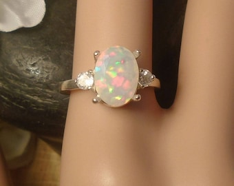 Light Blue Ethiopian Fire Opal 2 Birthstone Accent Gems Ring,Sterling Silver Ring, 1.11 Cts 10.00 x 7.50 mm AAA+++ Ethiopian Fire Opal