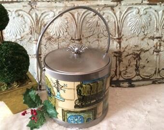 Serv-Master Chrome Ice Bucket with Lid Retro Mid Century Bar Decor